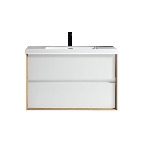 "SLIM 36"" GLOSS WHITE WALL MOUNTED VANITY WITH REINFORCED ACRYLIC SINK"