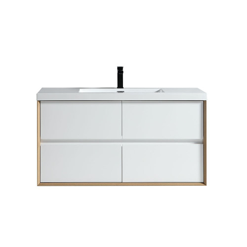 "SLIM 48"" GLOSS WHITE WALL MOUNTED VANITY WITH REINFORCED ACRYLIC SINK"