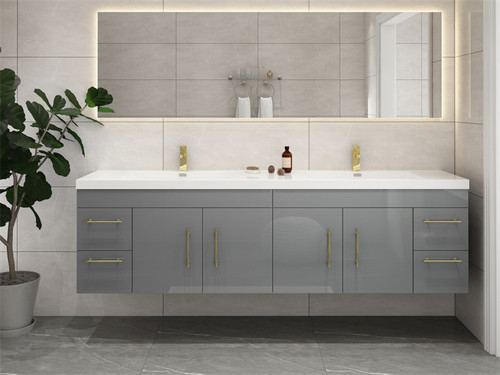 """ELSA 72"""" GLOSSY GRAY WALL MOUNTED VANITY WITH REINFORCED ACRYLIC SINK"""