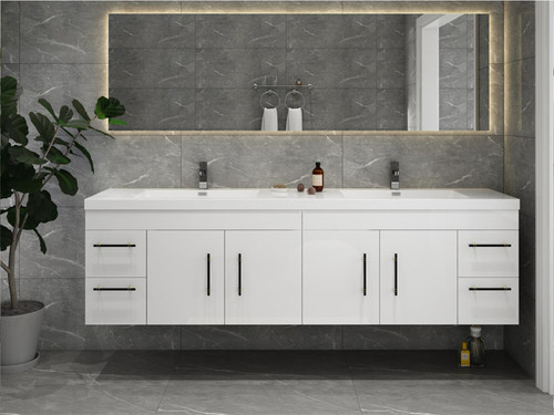 """ELSA 72"""" GLOSSY WHITE WALL MOUNTED VANITY WITH REINFORCED ACRYLIC SINK"""