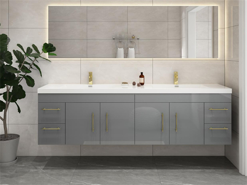 """ELSA 84"""" GLOSSY GRAY WALL MOUNTED VANITY WITH REINFORCED ACRYLIC SINK"""