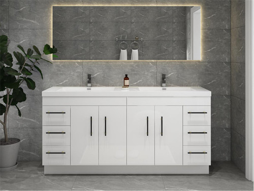 """ELSA 72"""" GLOSSY WHITE FREESTANDING VANITY WITH REINFORCED ACRYLIC SINK"""