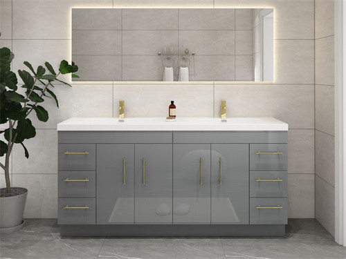 """ELSA 84"""" GLOSSY GRAY FREESTANDING VANITY WITH REINFORCED ACRYLIC SINK"""
