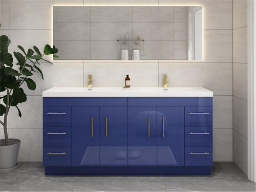 """ELSA 84"""" GLOSSY NIGHT BLUE FREESTANDING VANITY WITH REINFORCED ACRYLIC SINK"""