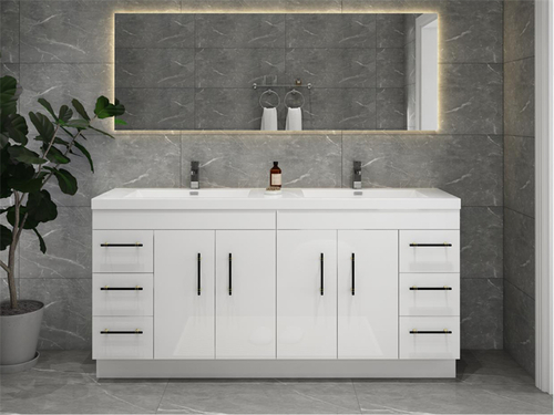 """ELSA 84"""" GLOSSY WHITE FREESTANDING VANITY WITH REINFORCED ACRYLIC SINK"""