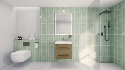 T&T 24 Inch Wall Mounted Vanity with Reinforced Acrylic Sink White Oak