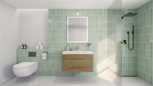 T&T 36 Inch Wall Mounted Vanity with Reinforced Acrylic Sink White Oak