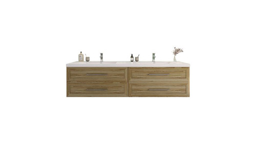 T&T 84 Inch Double Sinks Wall Mounted Vanity with Reinforced Acrylic Sink Light Seaside Maple