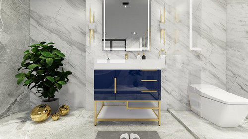 BT001 36''High Gloss Night Blue Freestanding Vanity with Reinforced Acrylic Sink (Right Side Drawers)