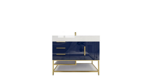 BT001 42''High Gloss Night Blue Freestanding Vanity with Reinforced Acrylic Sink (Left Side Drawers)