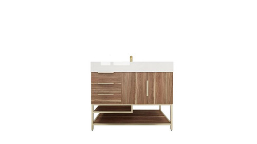 BT001 42''White Oak Freestanding Vanity with Reinforced Acrylic Sink (Left Side Drawers)
