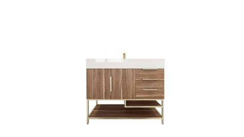 BT001 42''White Oak Freestanding Vanity with Reinforced Acrylic Sink (Right Side Drawers)
