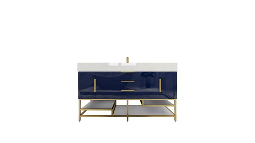 BT001 60''High Gloss Night Blue Freestanding Vanity with Reinforced Acrylic Sink