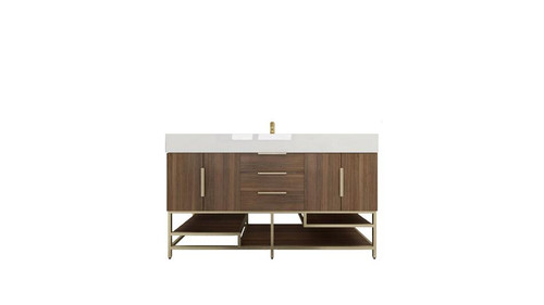BT001 60''Rosewood Freestanding Vanity with Reinforced Acrylic Sink