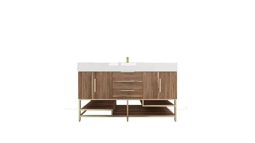 BT001 60''White Oak Freestanding Vanity with Reinforced Acrylic Sink