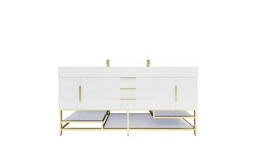 BT001 72'' High Gloss White Freestanding Vanity with Reinforced Acrylic Sink