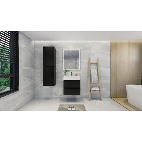 "MOBNO 24"" BLACK WALL MOUNTED MODERN BATHROOM VANITY WITH REEINFORCED ACRYLIC SINK"