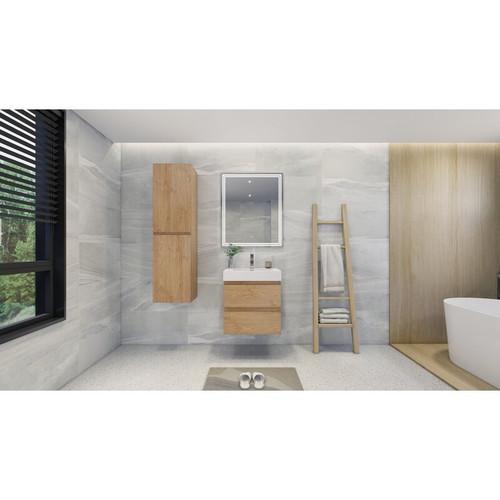 """MOENO 24"""" NEW ENGLAND OAK WALL MOUNTED MODERN BATHROOM VANITY WITH REEINFORCED ACRYLIC SINK"""
