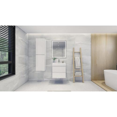 "MOENO 24"" HIGH GLOSS WHITE WALL MOUNTED MODERN BATHROOM VANITY WITH REEINFORCED ACRYLIC SINK"