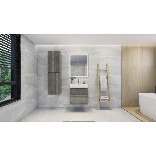 "MOENO 24"" HIGH GLOSS ASH GREY WALL MOUNTED MODERN BATHROOM VANITY WITH REEINFORCED ACRYLIC SINK"