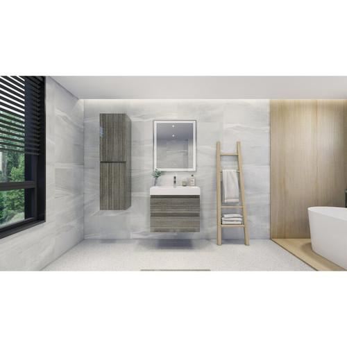 "MOENO 30"" HIGH GLOSS ASH GREY WALL MOUNTED MODERN BATHROOM VANITY WITH REEINFORCED ACRYLIC SINK"