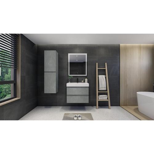 "MOENO 30"" CONCRETE GREY WALL MOUNTED MODERN BATHROOM VANITY WITH REEINFORCED ACRYLIC SINK"