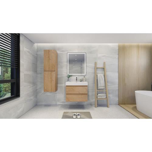 """MOENO 30"""" NEW ENGLAND OAK WALL MOUNTED MODERN BATHROOM VANITY WITH REEINFORCED ACRYLIC SINK"""