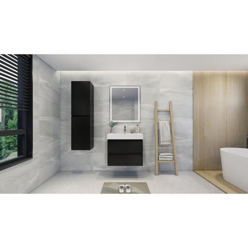 "MOENO 30"" BLACK WALL MOUNTED MODERN BATHROOM VANITY WITH REEINFORCED ACRYLIC SINK"