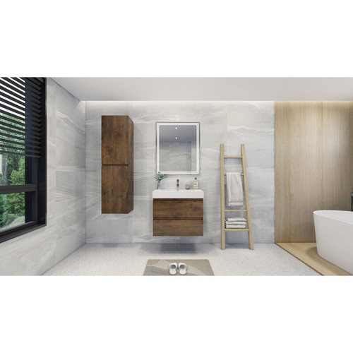 "MOENO 30"" Rose Wood WALL MOUNTED MODERN BATHROOM VANITY WITH REEINFORCED ACRYLIC SINK"