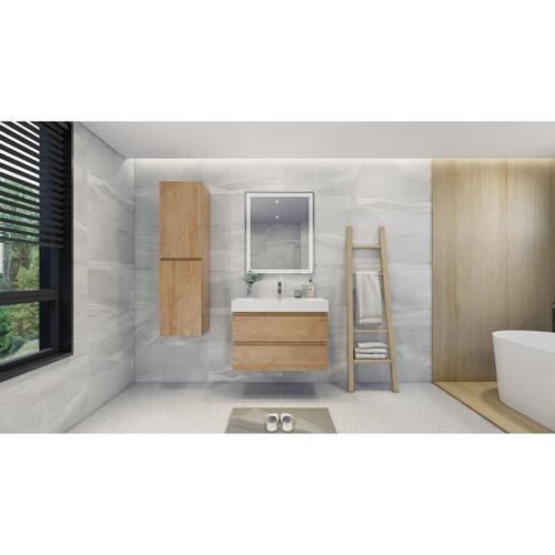 """MOENO 36"""" NEW ENGLAND OAK WALL MOUNTED MODERN BATHROOM VANITY WITH REEINFORCED ACRYLIC SINK"""