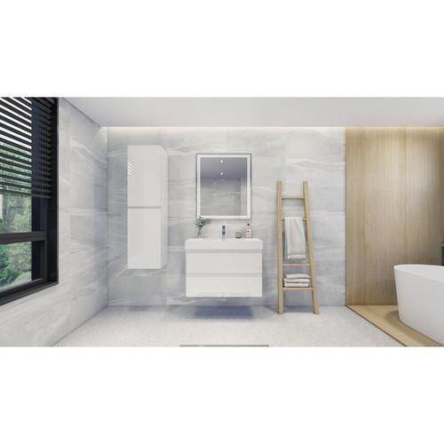 "MOENO 36"" HIGH GLOSS WHITE WALL MOUNTED MODERN BATHROOM VANITY WITH REEINFORCED ACRYLIC SINK"