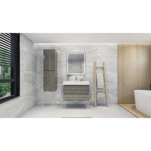 "MOENO 36"" HIGH GLOSS ASH GREY WALL MOUNTED MODERN BATHROOM VANITY WITH REEINFORCED ACRYLIC SINK"