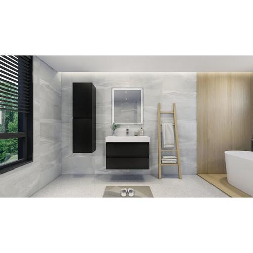 "MOENO 36"" BLACK  WALL MOUNTED MODERN BATHROOM VANITY WITH REEINFORCED ACRYLIC SINK"