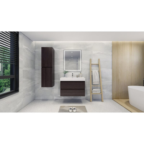 "MOENO 36"" DARK GREY WALL MOUNTED MODERN BATHROOM VANITY WITH REEINFORCED ACRYLIC SINK"