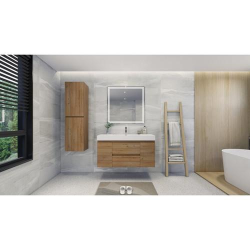"MOENO 48"" NATURAL OAK WALL MOUNTED MODERN BATHROOM VANITY WITH REEINFORCED ACRYLIC SINK"