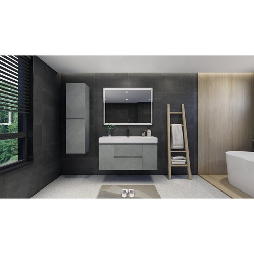 "MOENO 48"" CONCRETE GREY WALL MOUNTED MODERN BATHROOM VANITY WITH REEINFORCED ACRYLIC SINK"