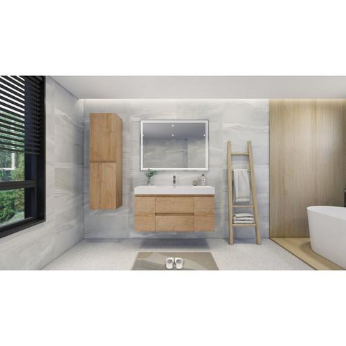 """MOENO 48"""" NEW ENGLAND OAK WALL MOUNTED MODERN BATHROOM VANITY WITH REEINFORCED ACRYLIC SINK"""
