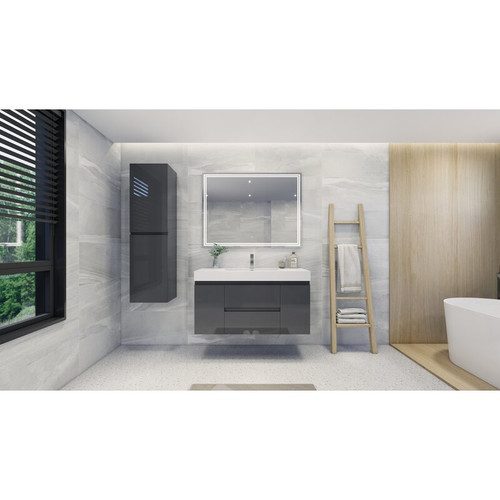 "MOENO 48"" HIGH GLOSS GREY WALL MOUNTED MODERN BATHROOM VANITY WITH REEINFORCED ACRYLIC SINK"