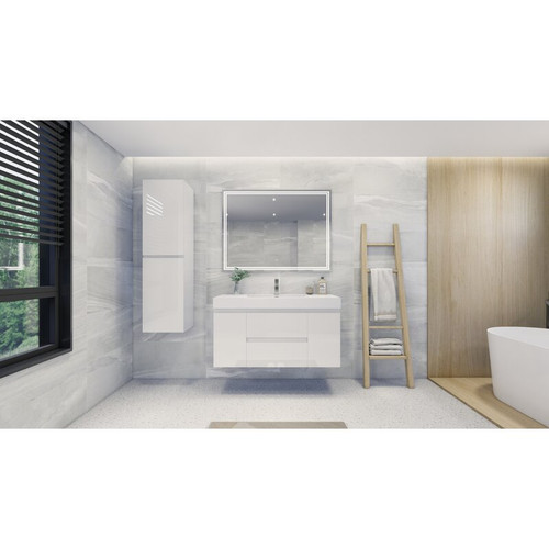 "MOENO 48"" HIGH GLOSS WHITE WALL MOUNTED MODERN BATHROOM VANITY WITH REEINFORCED ACRYLIC SINK"