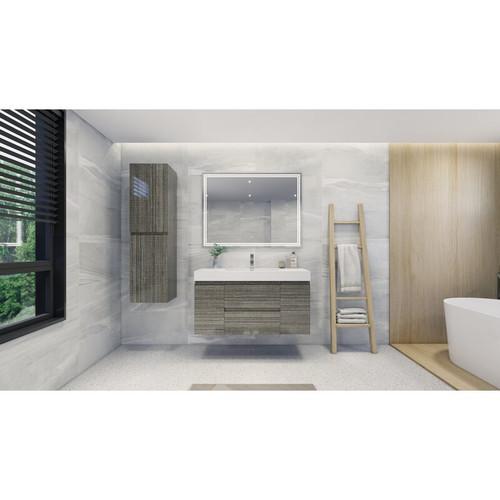 "MOENO 48"" High Gloss Ash Grey WALL MOUNTED MODERN BATHROOM VANITY WITH REEINFORCED ACRYLIC SINK"