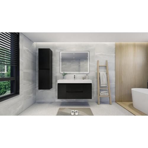 "MOENO 48"" BLACK WALL MOUNTED MODERN BATHROOM VANITY WITH REEINFORCED ACRYLIC SINK"