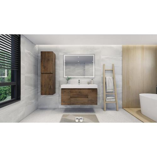 "MOENO 48"" ROSE WOOD WALL MOUNTED MODERN BATHROOM VANITY WITH REEINFORCED ACRYLIC SINK"