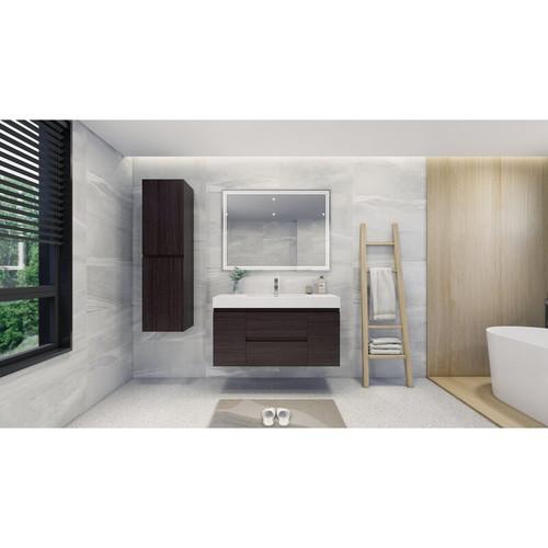 "MOENO 48"" Dark Grey Oak WALL MOUNTED MODERN BATHROOM VANITY WITH REEINFORCED ACRYLIC SINK"
