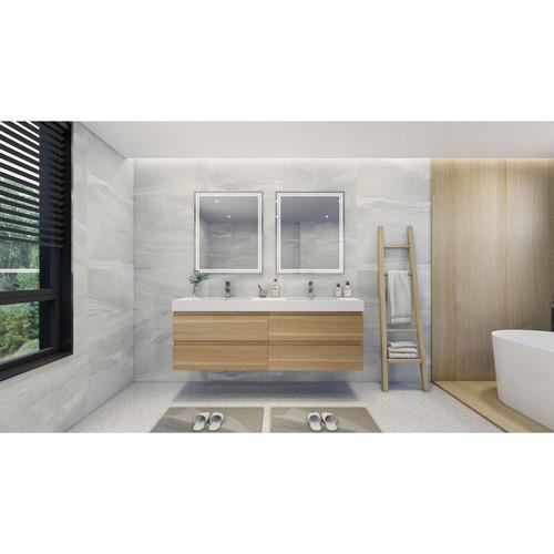 "MOENO 84"" DOUBLE SINK WHITE OAK WALL MOUNTED MODERN BATHROOM VANITY WITH REEINFORCED ACRYLIC SINK"
