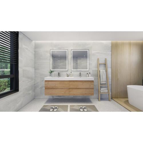 """MOENO 84"""" DOUBLE SINK NEW ENGLAND OAK WALL MOUNTED MODERN BATHROOM VANITY WITH REEINFORCED ACRYLIC SINK"""