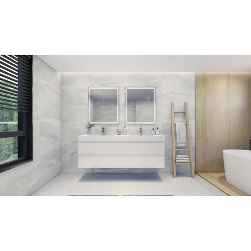 "MOENO 84"" DOUBLE SINK High Gloss White WALL MOUNTED MODERN BATHROOM VANITY WITH REEINFORCED ACRYLIC SINK"