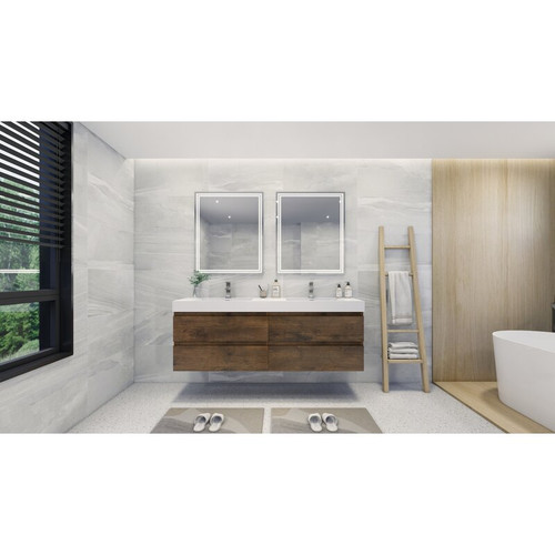 "MOENO 84"" DOUBLE SINK ROSE WOOD WALL MOUNTED MODERN BATHROOM VANITY WITH REEINFORCED ACRYLIC SINK"