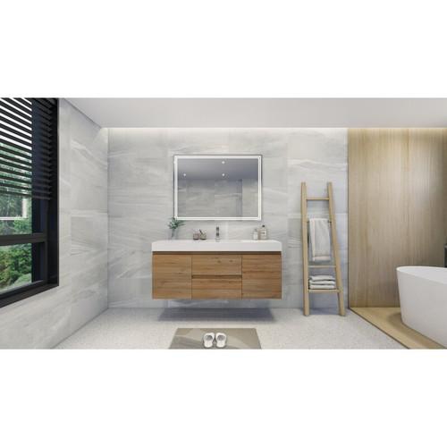 "MOENO 60"" SINGLE SINK NATURAL OAK WALL MOUNTED MODERN BATHROOM VANITY WITH REEINFORCED ACRYLIC SINK"