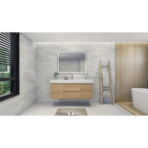 "MOENO 60"" SINGLE SINK WHITE OAK WALL MOUNTED MODERN BATHROOM VANITY WITH REEINFORCED ACRYLIC SINK"