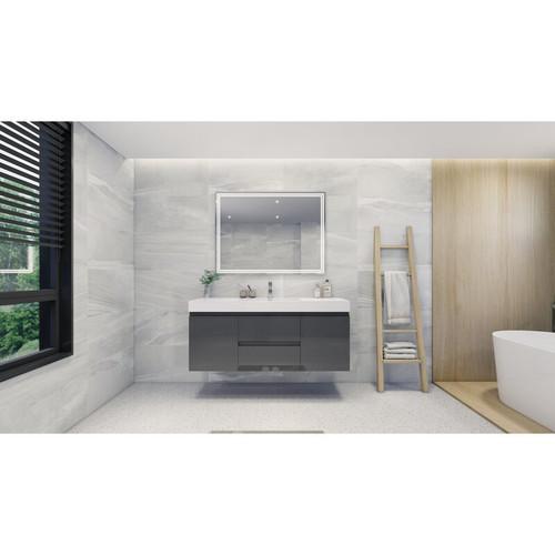 "MOENO 60"" SINGLE SINK HIGH GLOSS GREY WALL MOUNTED MODERN BATHROOM VANITY WITH REEINFORCED ACRYLIC SINK"